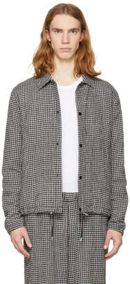 McQ Black and White Gingham Bomber Jacket