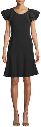 Michael Kors Flutter-Sleeve Scoop-Neck Stretch-Wool Crepe Dress