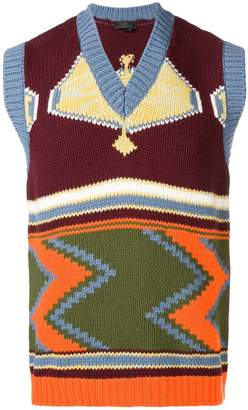 Prada intarsia V-neck sweater vest
