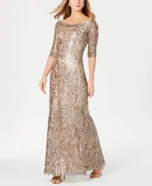 Tadashi Shoji Embellished 3/4-Sleeve Gown