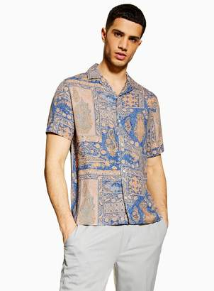 TopmanTopman Blue and Pink Paisley Revere Shirt