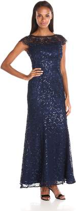 Ignite Women's Mesh Illusion Sequened Evening Dress