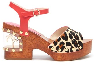 Sophia Webster Paradise Leopard Print Wood & Pvc Clogs - Womens - Leopard