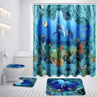 Generic 3Pcs Bathroom Set Pedestal Floor Rug + Lid Toilet Cover +Non-Slip Bath Mat Doormat /71''x 71'' Shower Curtain +12 Hooks Rings Dolphin Ocean Waterproof Polyester Home Decor