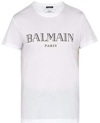 5a239f12 Balmain Logo Cotton T Shirt - Mens - White Multi