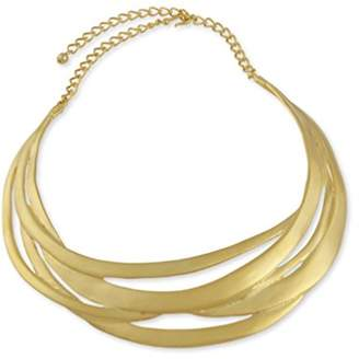 Kenneth Jay Lane Satin Gold Plated Cut Out Collar Necklace