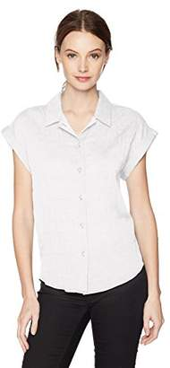 Lucky Brand Women's Short Sleeve Button up Top