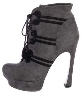 Saint Laurent Suede Platform Ankle Boots