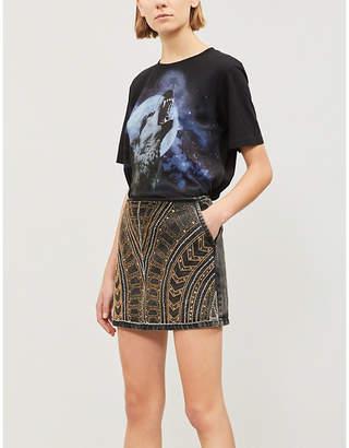 The Kooples Embellished denim skirt