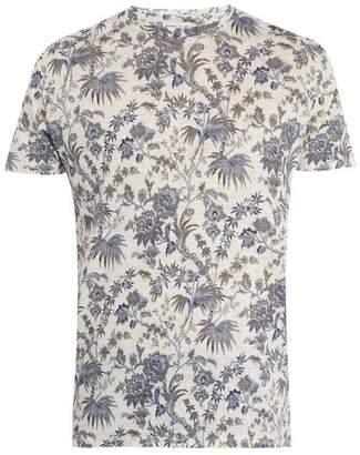 Etro Floral Print Linen Jersey T Shirt - Mens - White Multi