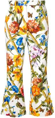 Dolce & Gabbana floral print flared cropped trousers