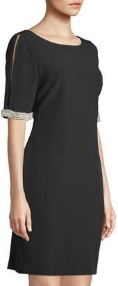 Karl Lagerfeld Paris Pearl-Sleeve Cold-Shoulder Shift Dress