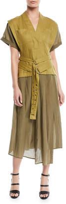 Sea Kinney Double-Belted Combo Cotton-Linen Midi Dress