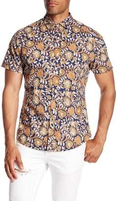 Slate & Stone Modern Fit Plant Print Button Short Sleeve Shirt