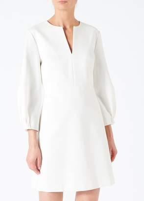Tibi Bond Stretch Knit Split Neck Dress