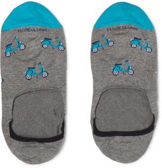 Marcoliani Scooter-Patterned Cotton-Blend No-Show Socks $21 thestylecure.com