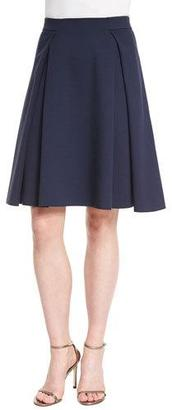 Armani Collezioni Box-Pleated Jersey A-Line Skirt, Astral Blue $495 thestylecure.com