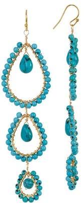 Taolei Blue Turquoise Triple Drop Earrings $24.97 thestylecure.com