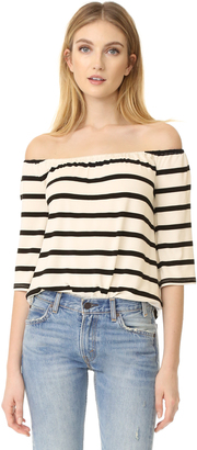 BB Dakota Geri Striped Off Shoulder Top $70 thestylecure.com