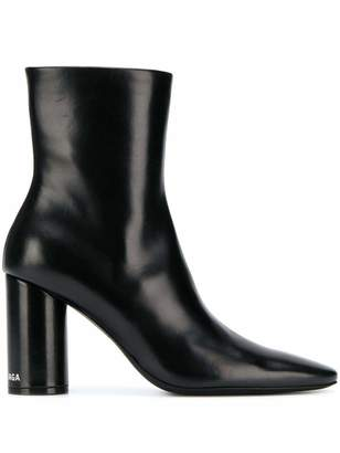 Balenciaga Round Toe Ankle Boots with Logo