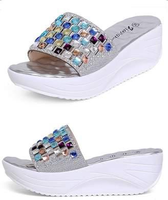 5f10ce9b325 Doris Fashion wm-9999-2 Women s Smart Flat Shoes Rhinestone Wedges Sandals