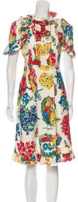Gucci 2017 Floral Ruffle-Trimmed Dress w/ Tags White 2017 Floral Ruffle-Trimmed Dress w/ Tags
