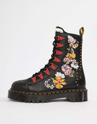 Dr. Martens Nyberg Black Leather Embroidered Chunky Flatform Boots
