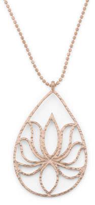 Handmade In Thailand Rose Gold Teardrop Lotus Necklace