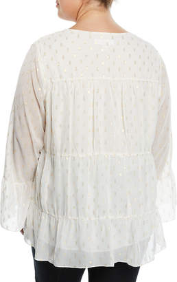 MICHAEL Michael Kors Shirred Bell-Sleeve Peasant Blouse, Plus Size