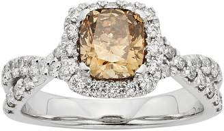 IGL Certified Champagne & White Diamond Square Halo & Crisscross Engagement Ring in 14k White Gold (1 1/2 Carat T.W.)