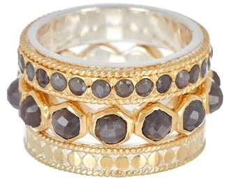 Anna Beck 18K Gold Plated Grey Sapphire Stacking Rings