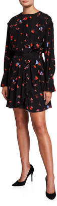 Jason Wu Floral Long-Sleeve Fit-and-Flare Silk Dress