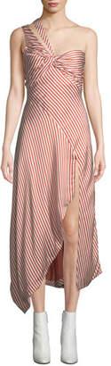 Jonathan Simkhai Striped Twisted Asymmetric One-Shoulder Midi Dress
