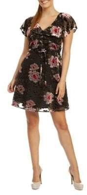 Dex Velvet Floral Fit--Flare Dress