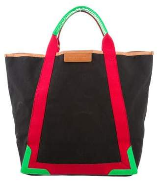 Balenciaga Leather-Trimmed Oversize Tote