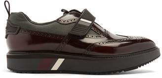 Prada Stacked-sole Velcro-strap leather brogues