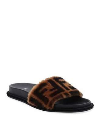 49bfd6c68394 Fendi Black Flat Women s Sandals - ShopStyle