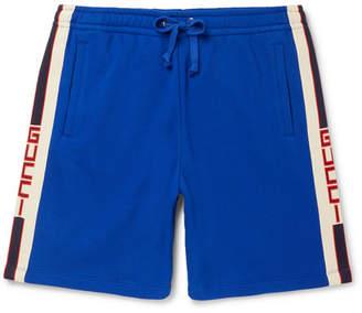 Gucci Wide-Leg Logo Webbing-Trimmed Loopback Cotton-Jersey Shorts