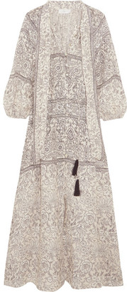 Zimmermann - Caravan Pussy-bow Printed Linen Dress - Stone $580 thestylecure.com