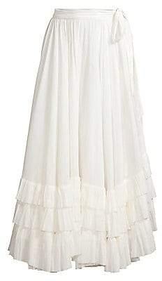 Polo Ralph Lauren Women's Tiered Ruffled Crepe Midi Peasant Skirt