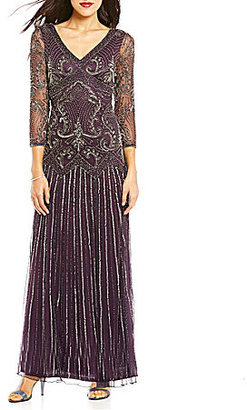 Pisarro Nights Beaded V-Neck 3/4 Sleeve Gown $248 thestylecure.com