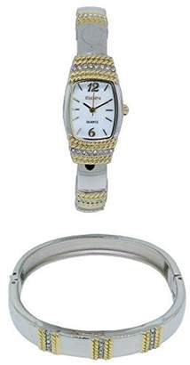 Elgin Women's Two-Tone Bangle Watch and Matching Bracelet Set