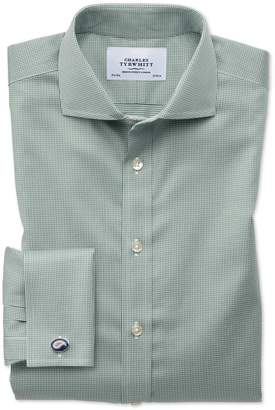Charles Tyrwhitt Slim Fit Spread Collar Non-Iron Puppytooth Olive Cotton Dress Shirt French Cuff Size 15/34