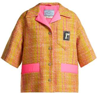 Prada - Cropped Tweed Jacket - Womens - Yellow Multi