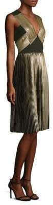 Yigal Azrouel Metallic V-Neck Dress