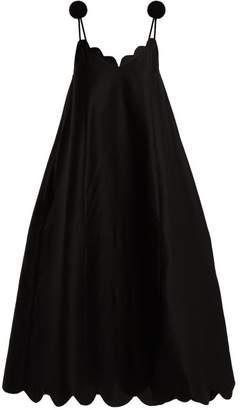 Vika Gazinskaya Scallop Edge Pompom Shoulder Maxi Dress - Womens - Black
