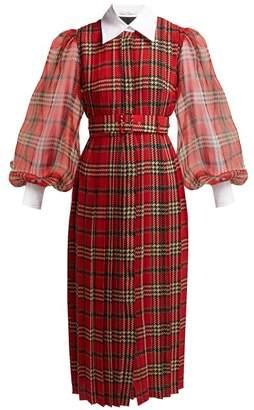 Emilia Wickstead Anni Tartan Pleated Chiffon Crepe Midi Dress - Womens - Red Multi