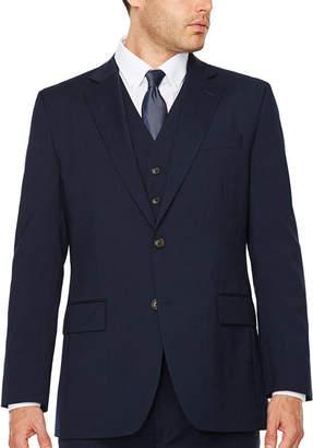 STAFFORD Stafford Travel Wool Blend Stretch Navy Pinstripe Jacket - Classic Fit