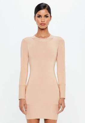 Missguided Nude Deep Cuff Bandage Mini Dress