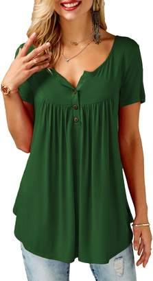 KISSMODA Plus Size Shirts Blouse Tunic Tops Women's Tee Vneck Buttons XXL